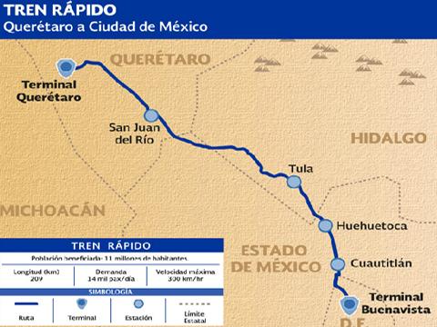 Dan a conocer la ruta que tendrá el tren rápido Querétaro- Ciudad de México